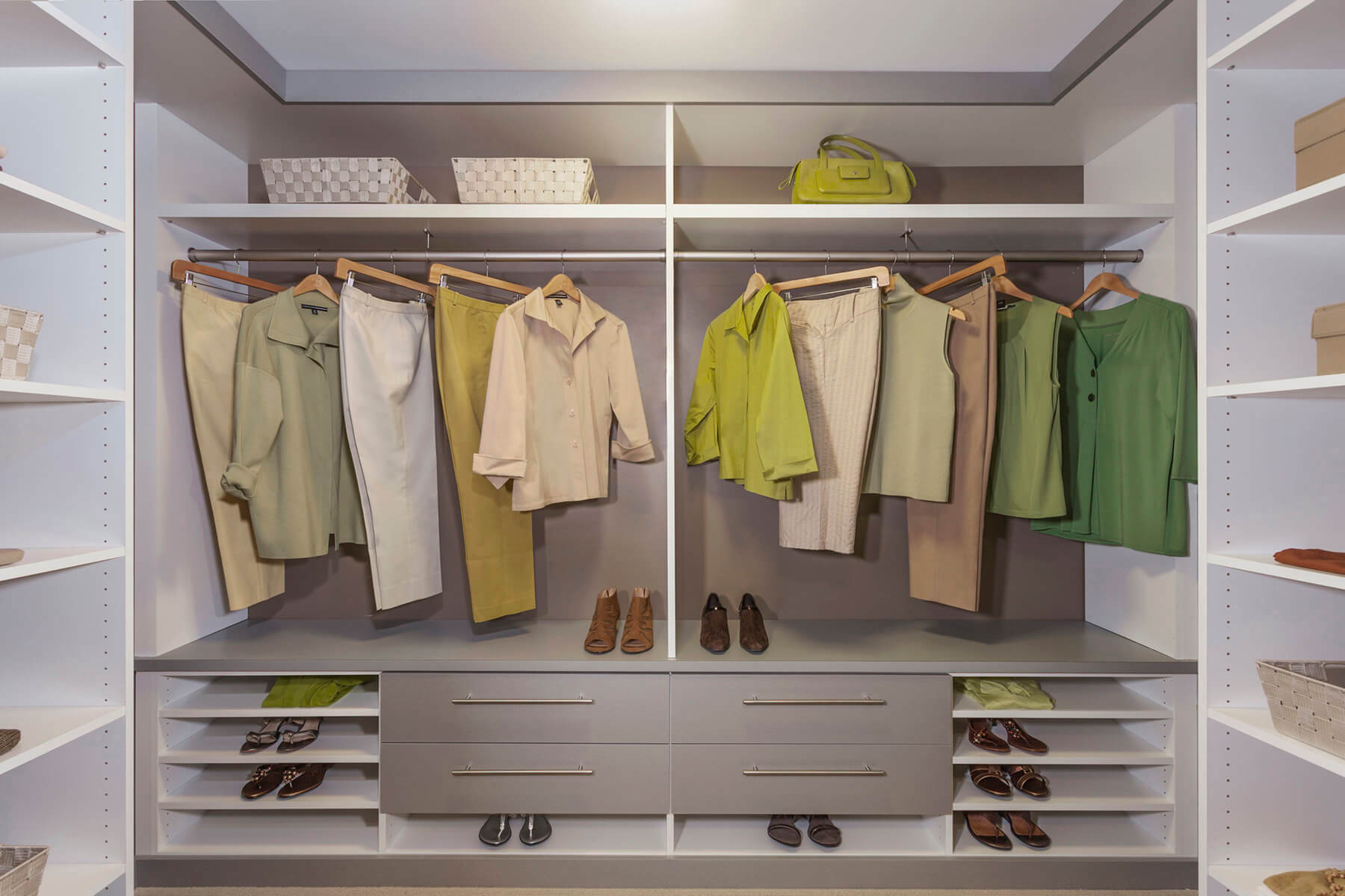 67 reach in and walk in bedroom closet storage systems for His and hers walk in closet