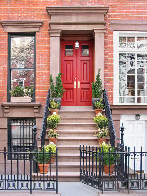Non Flowering Plants Can Be Decorative And Complementary With The Red Front  Door. It