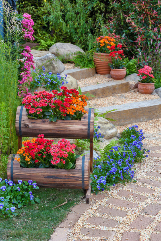These modern and stylish outdoor steps feature bricks  pebbles and huge  stones  You can. 64 Outdoor Steps with Flower Planters and Pots Ideas  Pictures