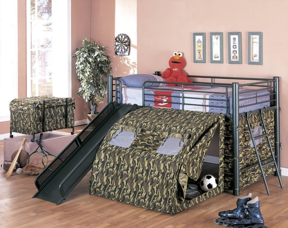 Bunk bed with slide for boys - Camouflage Tent Loft Bed With Slide
