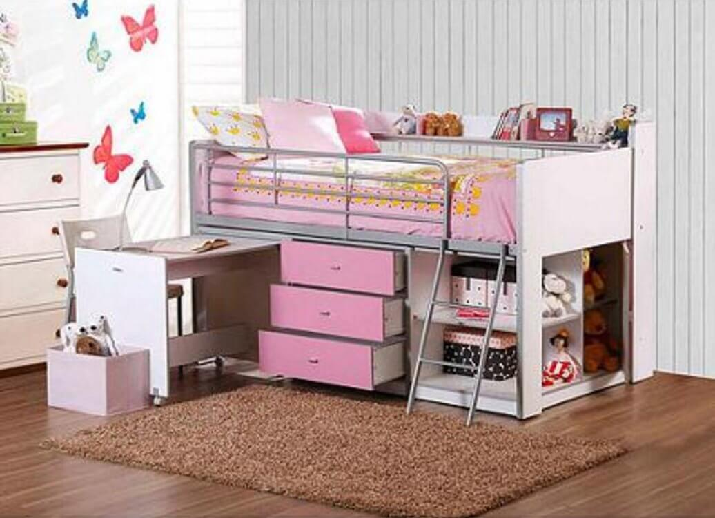 pink loft bed with desk drawers and shelves