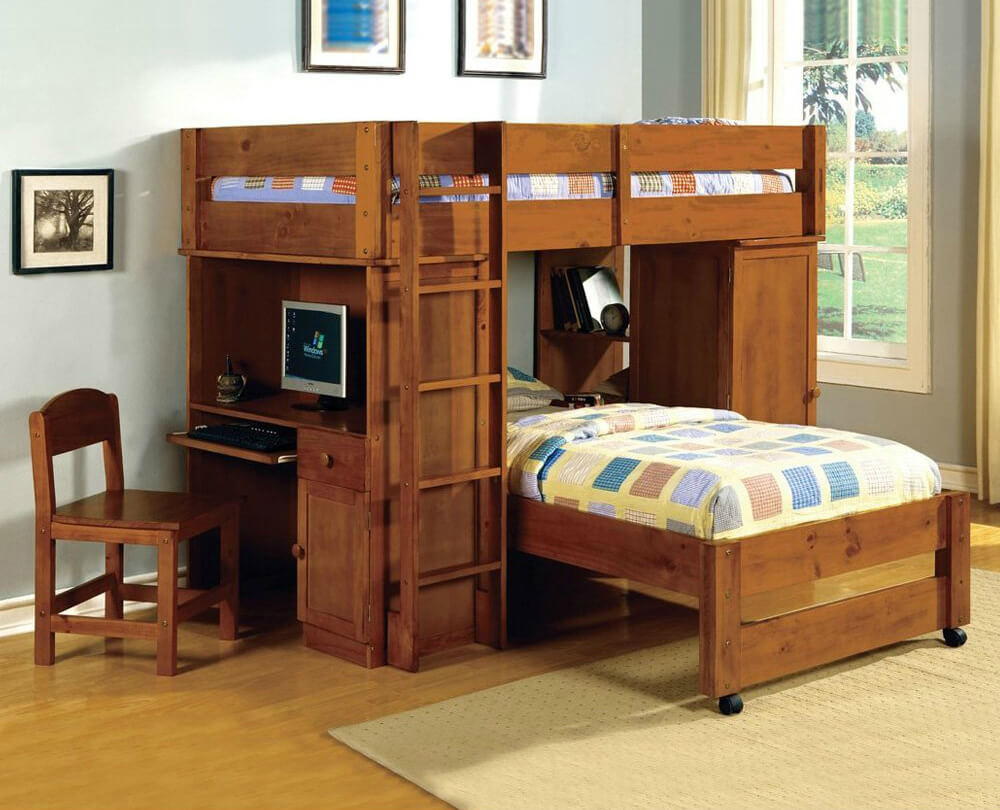 11. T-Shaped Bunk Bed with Built-In Desk and Wardrobe