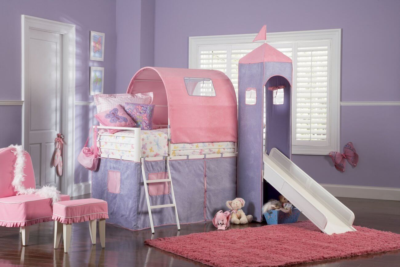 Cool Kids Beds With Slide - Pink and purple princess castle bed