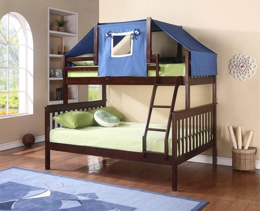 Twin Over Double Bunk Bed with Upper Bunk Tent - 34 Fun Girls AND Boys Kid's Beds & Bedrooms (PHOTOS)