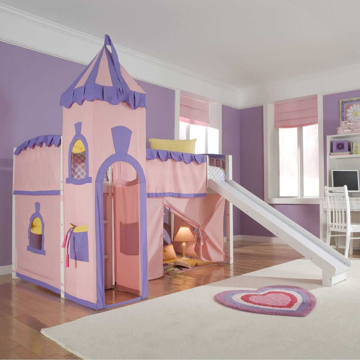 Bunk beds for girls with slide and desk - Pink And Purple Princess Castle Loft Bed With Slide