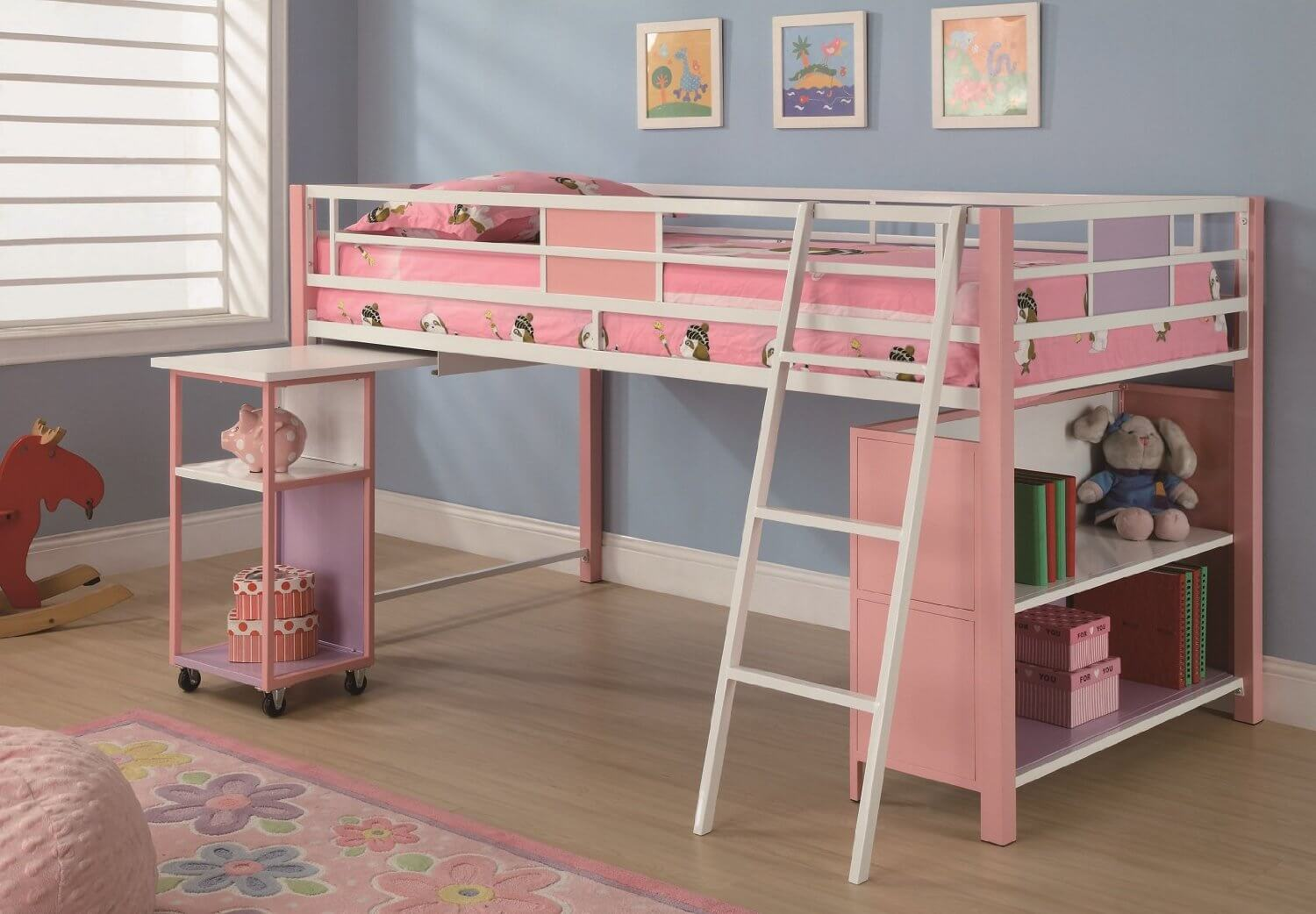 Bunk bed with desk underneath for girls - Pink And White Loft Bed Shelves