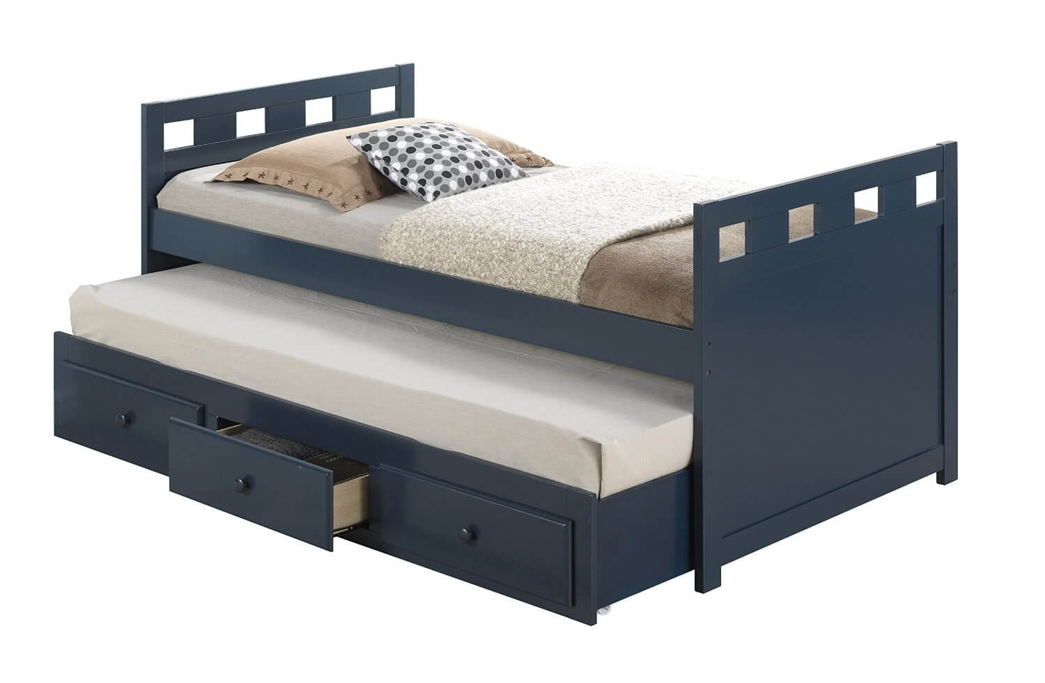 Boys twin bed frame - Blue Twin Trundle Bed With Drawers