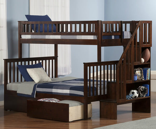 dark wood twin over double bunk bed with stairs - Bunk Bed With Stairs