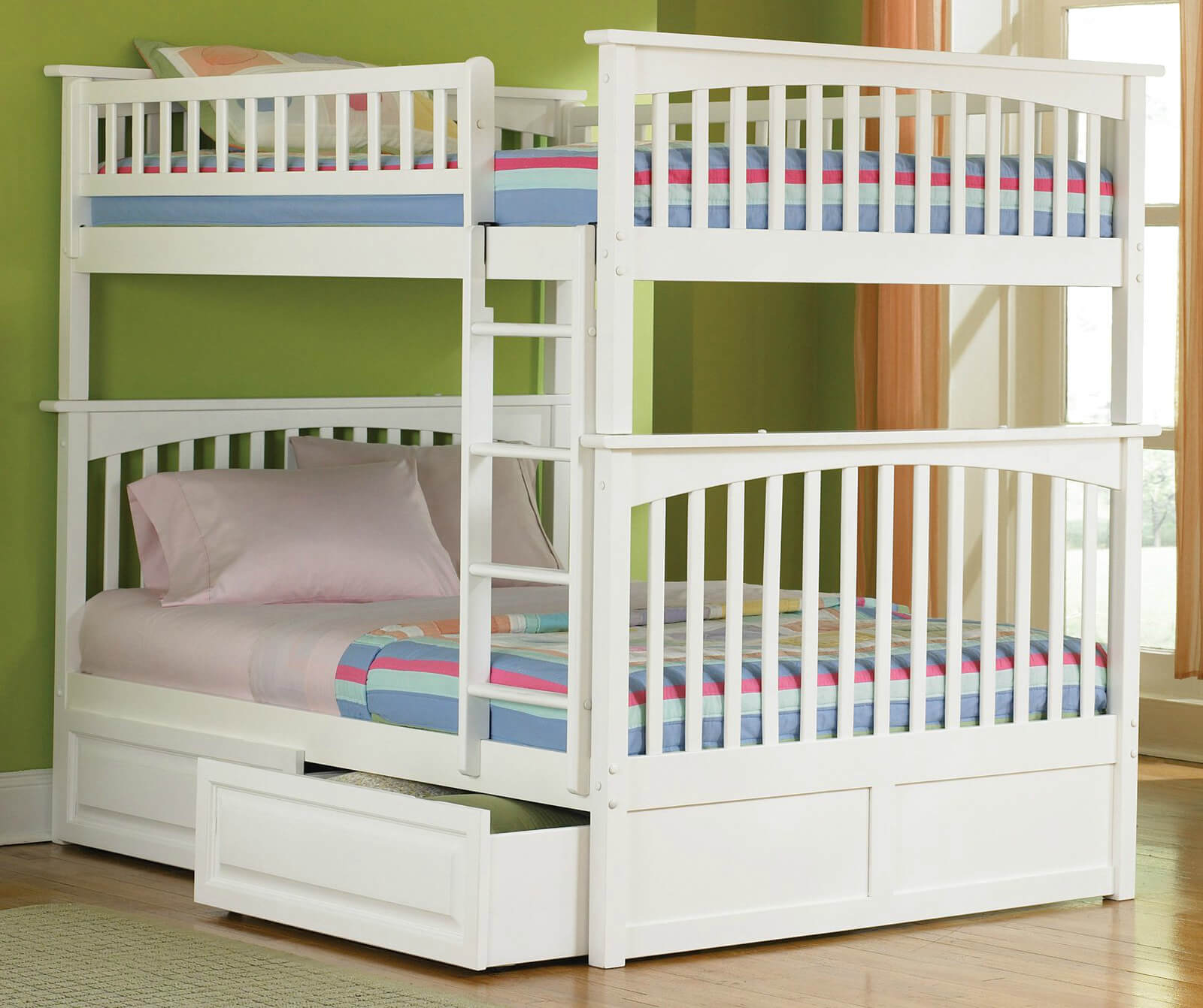 Double bunk beds with slide - White Double Over Double Bunk Bed