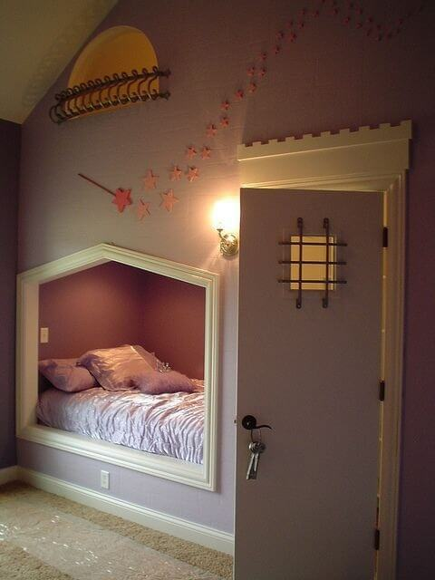 In the wall of this room is a comfortable and secluded nook that could easily be used for a space to gather and envelop yourself in stories. The space has its own lighting and you can close yourself off from the rest of the world and let the book carry you away.