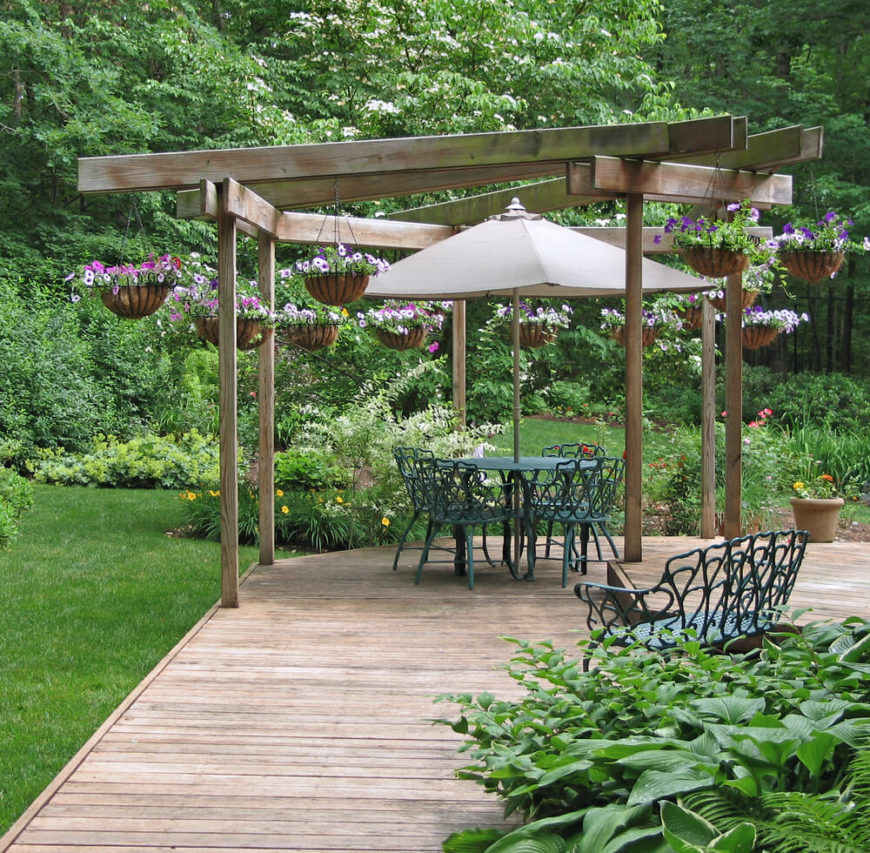 Arbor Designs Ideas patio arbor design patio covers amp arborsthumbs This Uniquely Shaped Floating Deck Is Large Enough To Support Multiple Focal Points From The