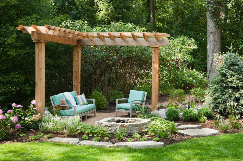 42 backyard and patio fire pit ideas for Domestic garden ideas