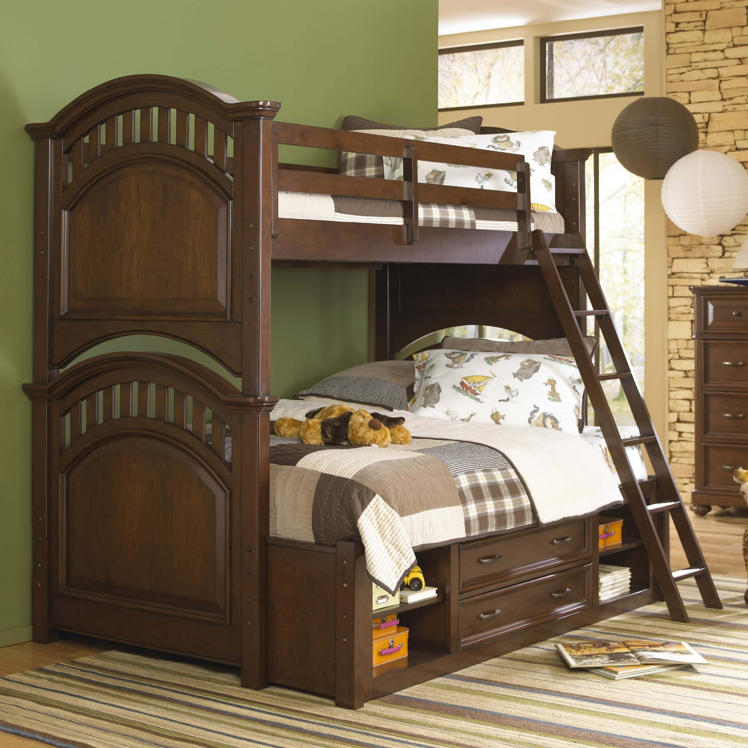 Dark pine twin over twin bunk bed bunk beds - Cherry Wood Twin Over Full Bunk Bed