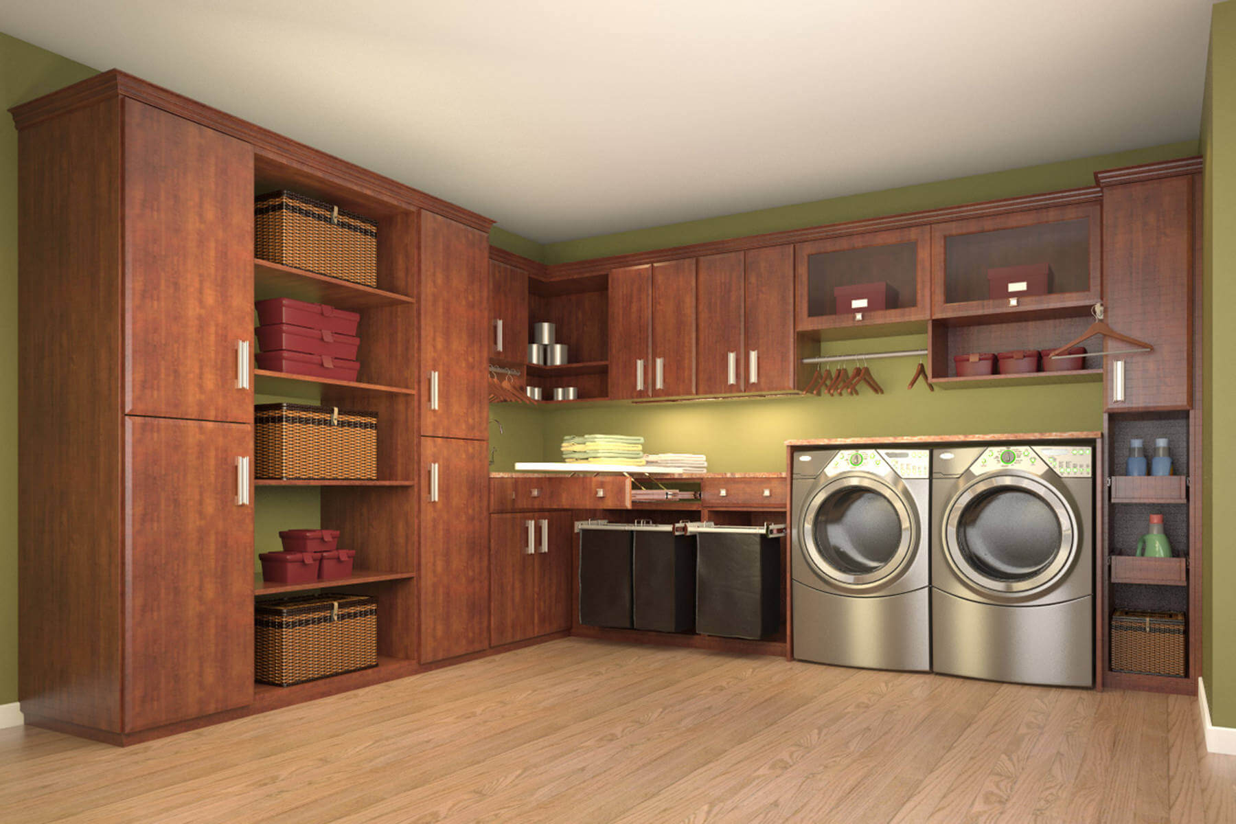 very organized and neat laundry room featuring pull outs and laundry