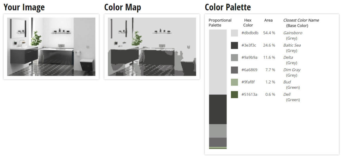 Color Palette for Grey, White and Green Bathroom Color Scheme