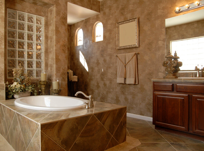 A Rustic Inspired Bathroom Dark Brown Wood Vanity Light Brown Patterned Sink And Floor