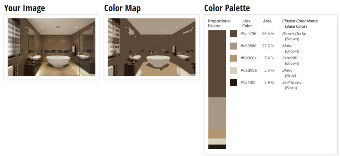 Color Palette for Brown, Grey and Black Bathroom Color Scheme