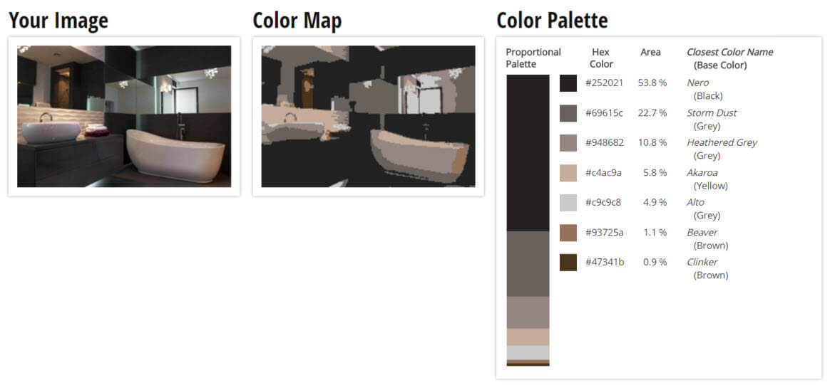 Color Palette for Black, Brown and White Bathroom Color Scheme