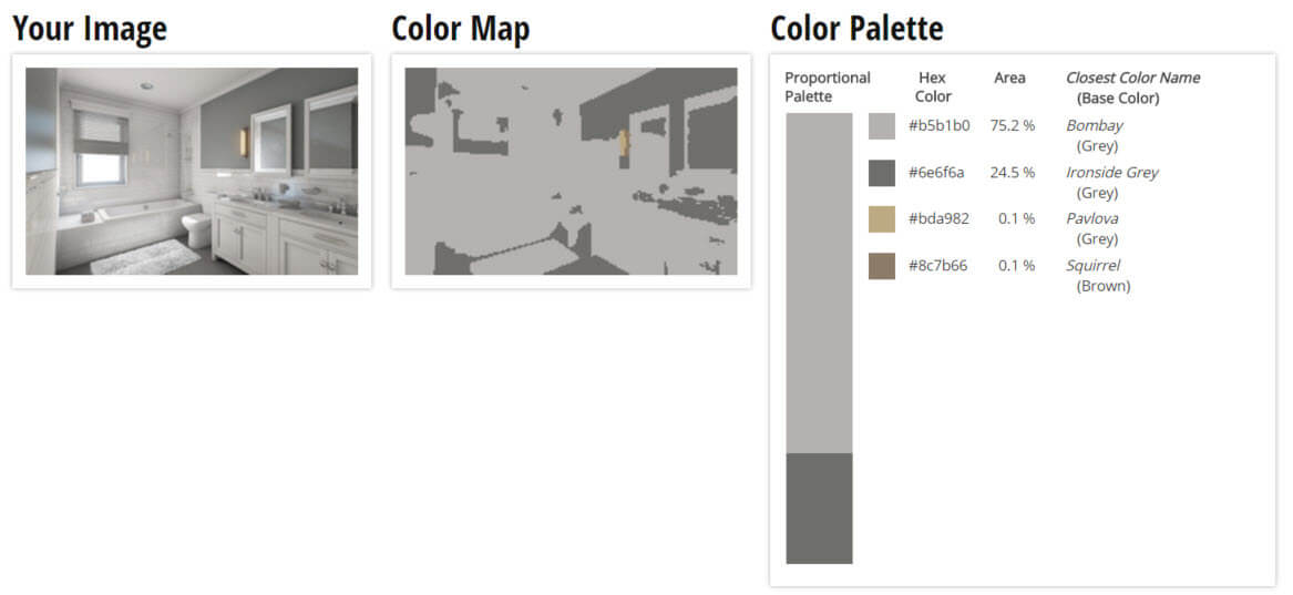 Color Palette for White and Grey Bathroom Color Scheme