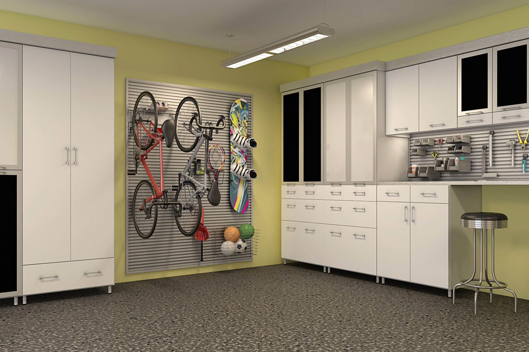This Garage Features The Large Square Wall Rack Placed At A Corner Of The  Room.
