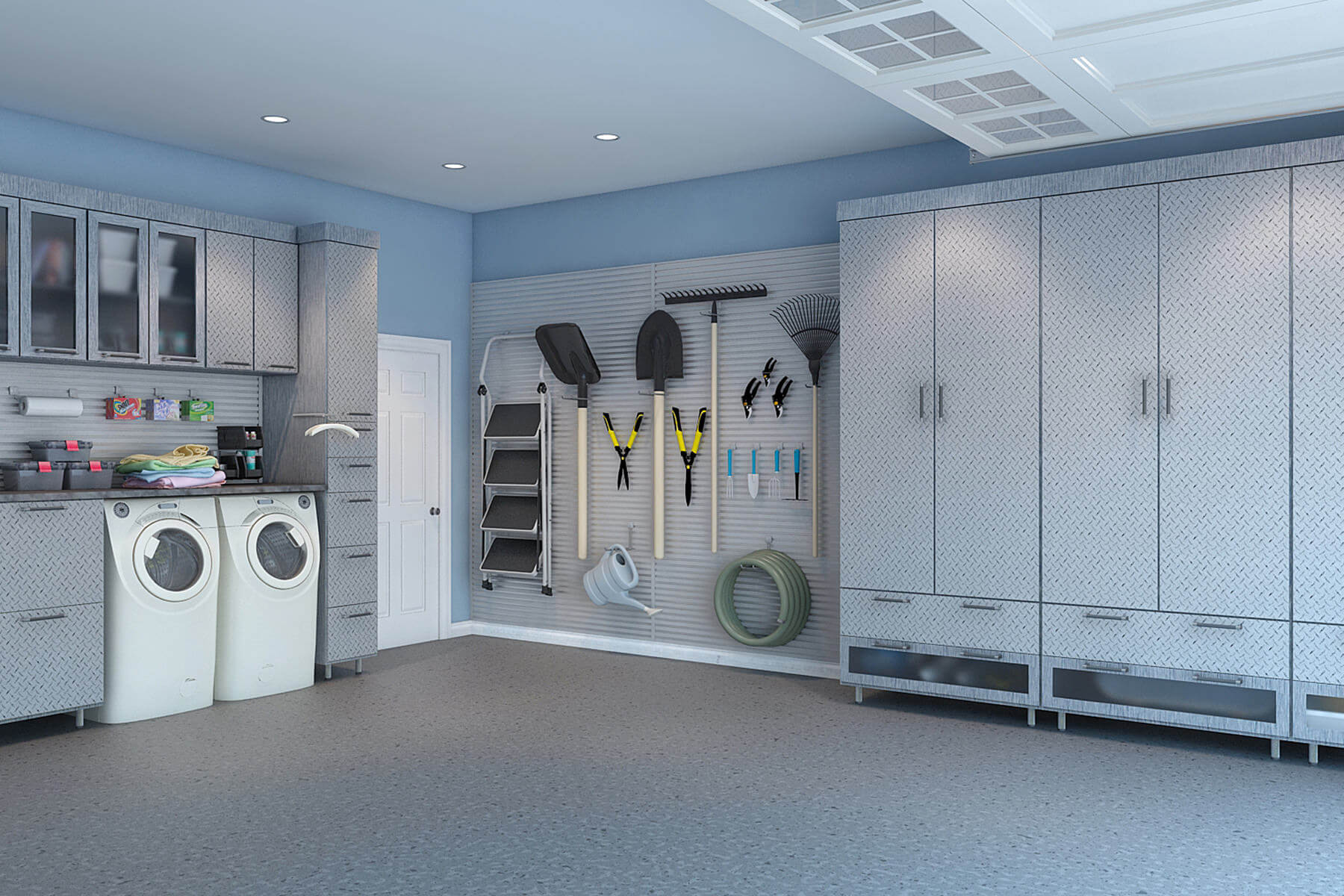 29 garage storage ideas plus 3 garage man caves the garage s melamine cabinets and uppers with lucite inserts easily steal your attention everything fits