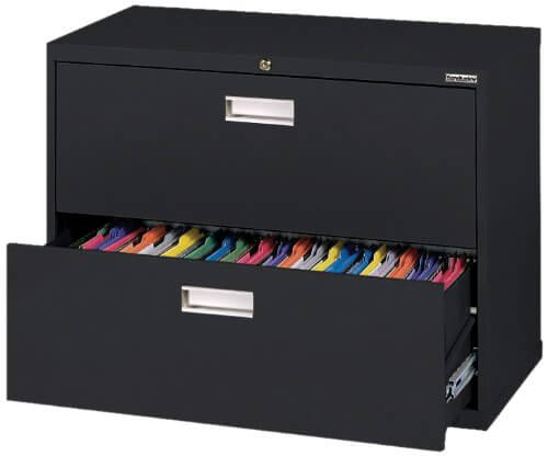 Black Steel Lateral 2-Drawer File Cabinet