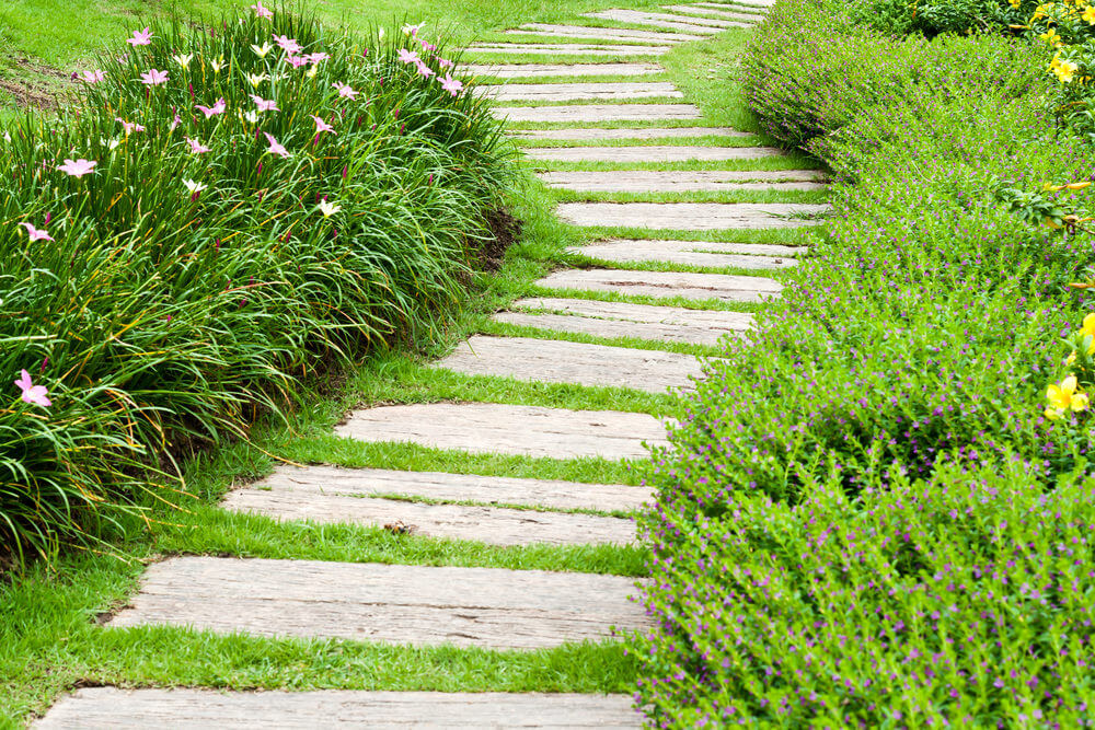Weathered wood pavers marching in line while green grasses alternate them.
