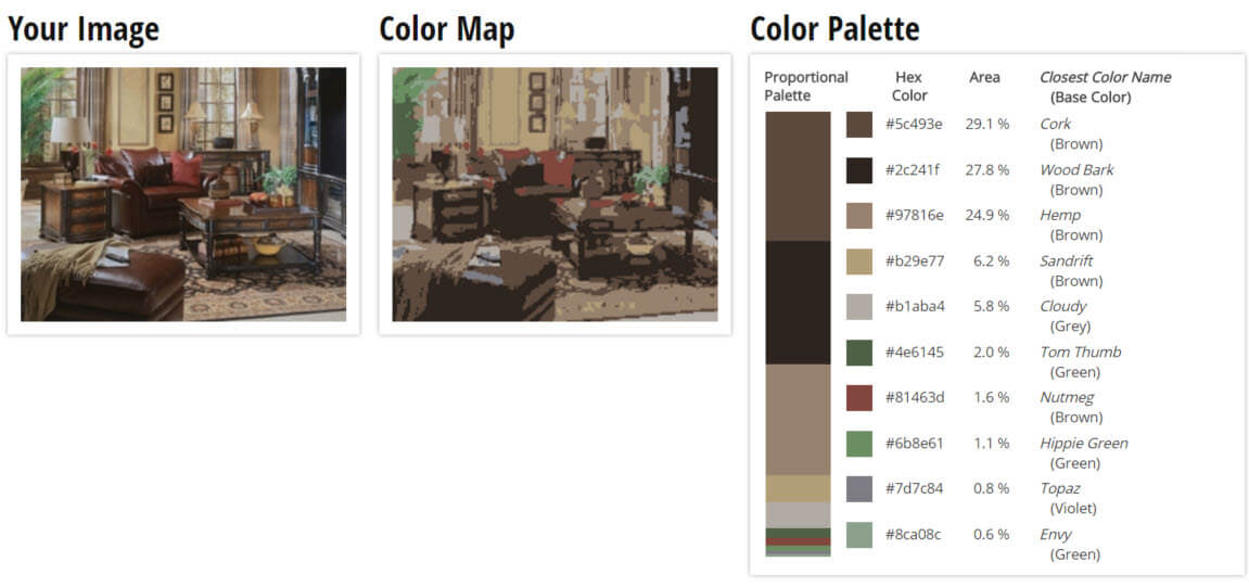 Color Palette For Wooden Brown Living Room Scheme
