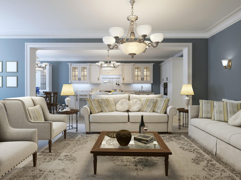 Blue, Grey and Light Brown Living Room Color Scheme