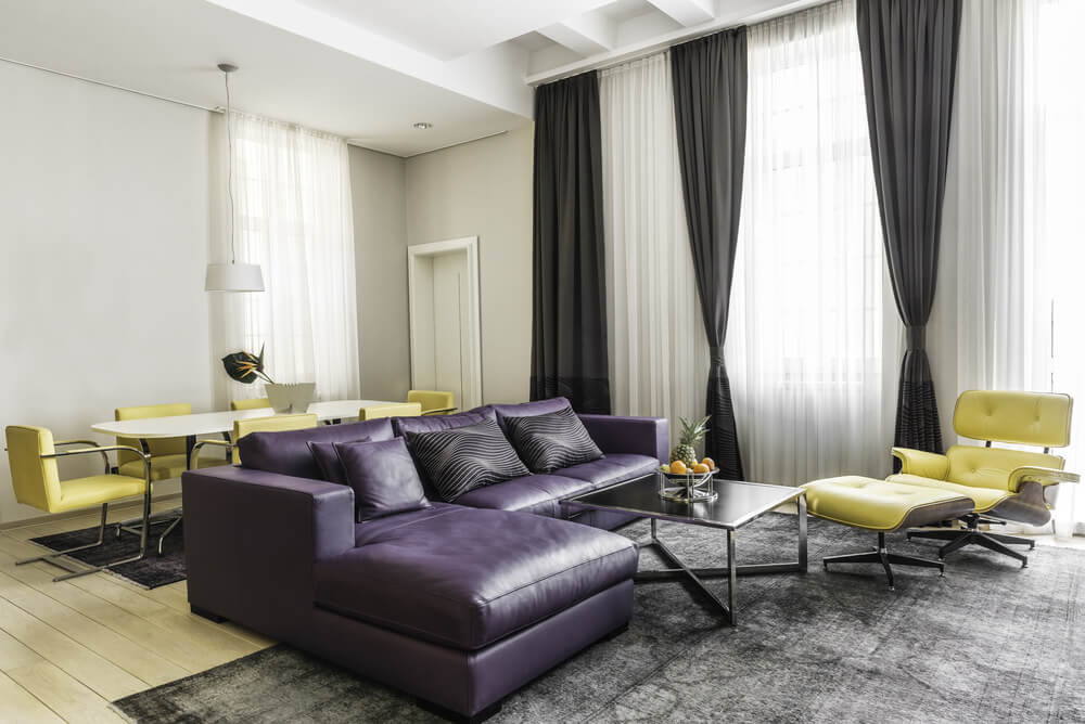 Lush Violet Dark Grey White And Light Yellow Living Room Color Scheme