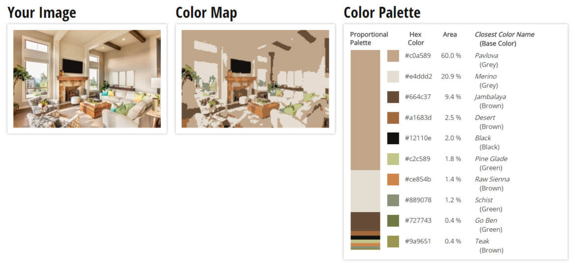 palette for creamy brown with green accents living room color scheme