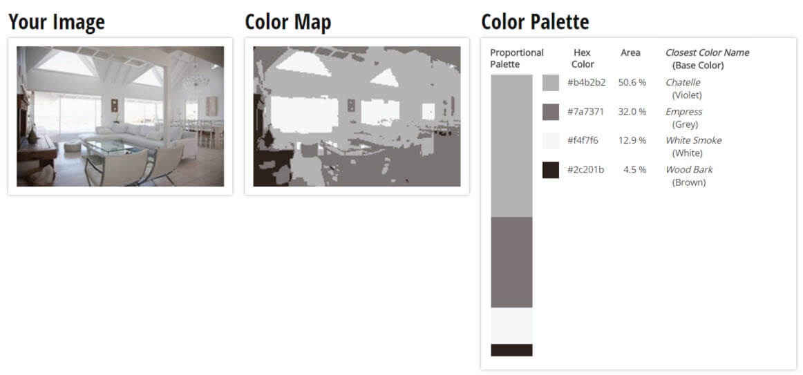 Color Palette For Mute Grey Violet White And Brown Living Room Scheme