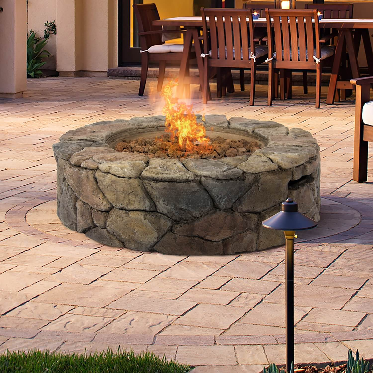 with this natural rock fa ade gas patio fire pit this fire pit