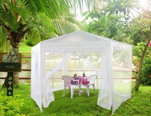 This handsome gazebo has a light and breezy look, thanks to its mesh sides that allow for full flowing air while still keeping mosquitos and other bugs at bay. This is perfect for impromptu gatherings, weddings, and other parties.