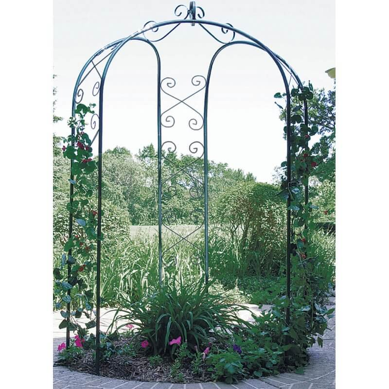 This simple but elegant design is made for a much different purpose than most gazebos. Rather than offering shelter or comfort, it's an ornamental feature designed to enhance the garden.