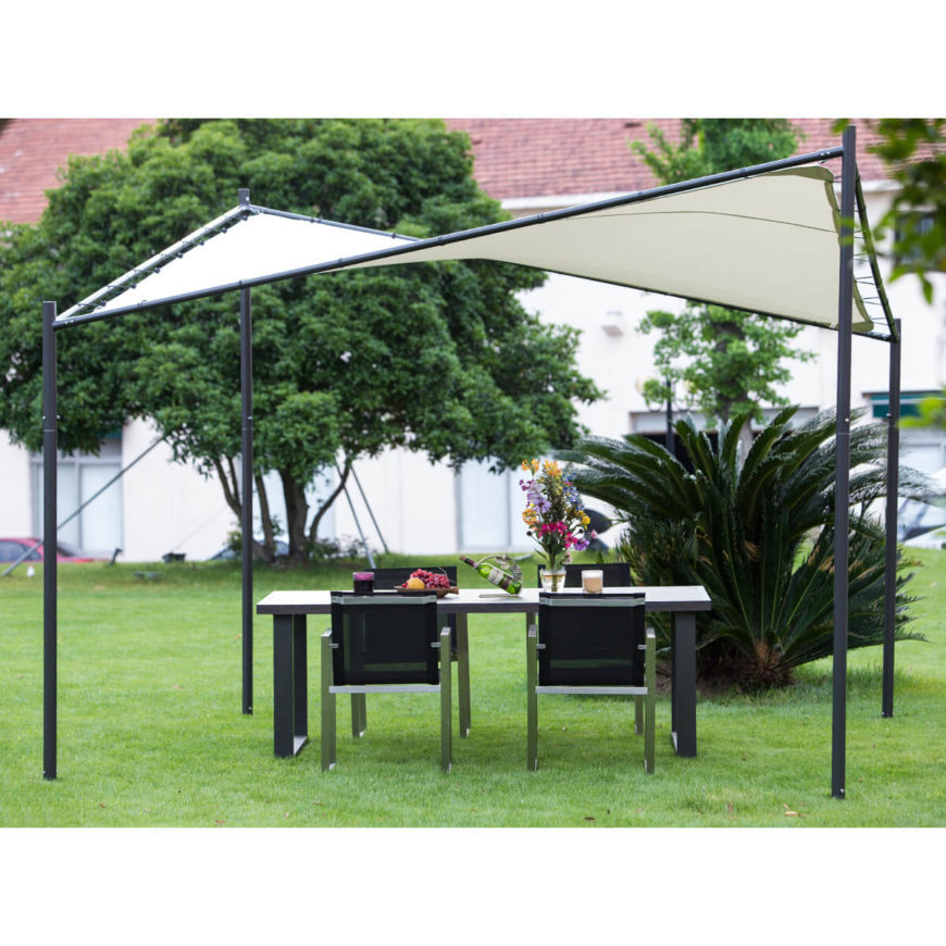 Here's a truly unique looking gazebo, with a minimalist frame and twisted, sloping roof canopy. The modern, artful look and shape will make it stand out in any landscape.
