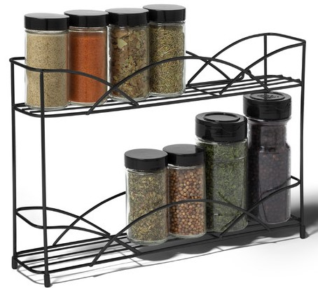 Crafted of stainless steel, the countertop spice rack features an ...