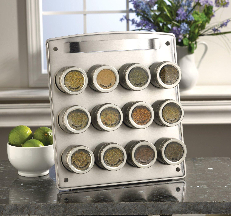 Magnetic spice racks for kitchen - 12 Tin Magnetic Spice Rack