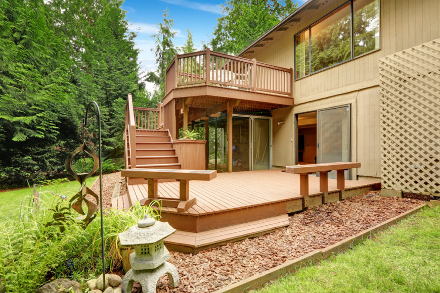 27 extensive multi level decks for entertaining large parties for Walkout basement sunroom