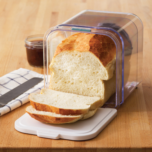 This adjustable breadbox is clear so you can see how much bread is left. Its major feature is that it is adjustable, so it expands to fit up to 11 inches of bread and can be made smaller as you work your way through a loaf of bread.