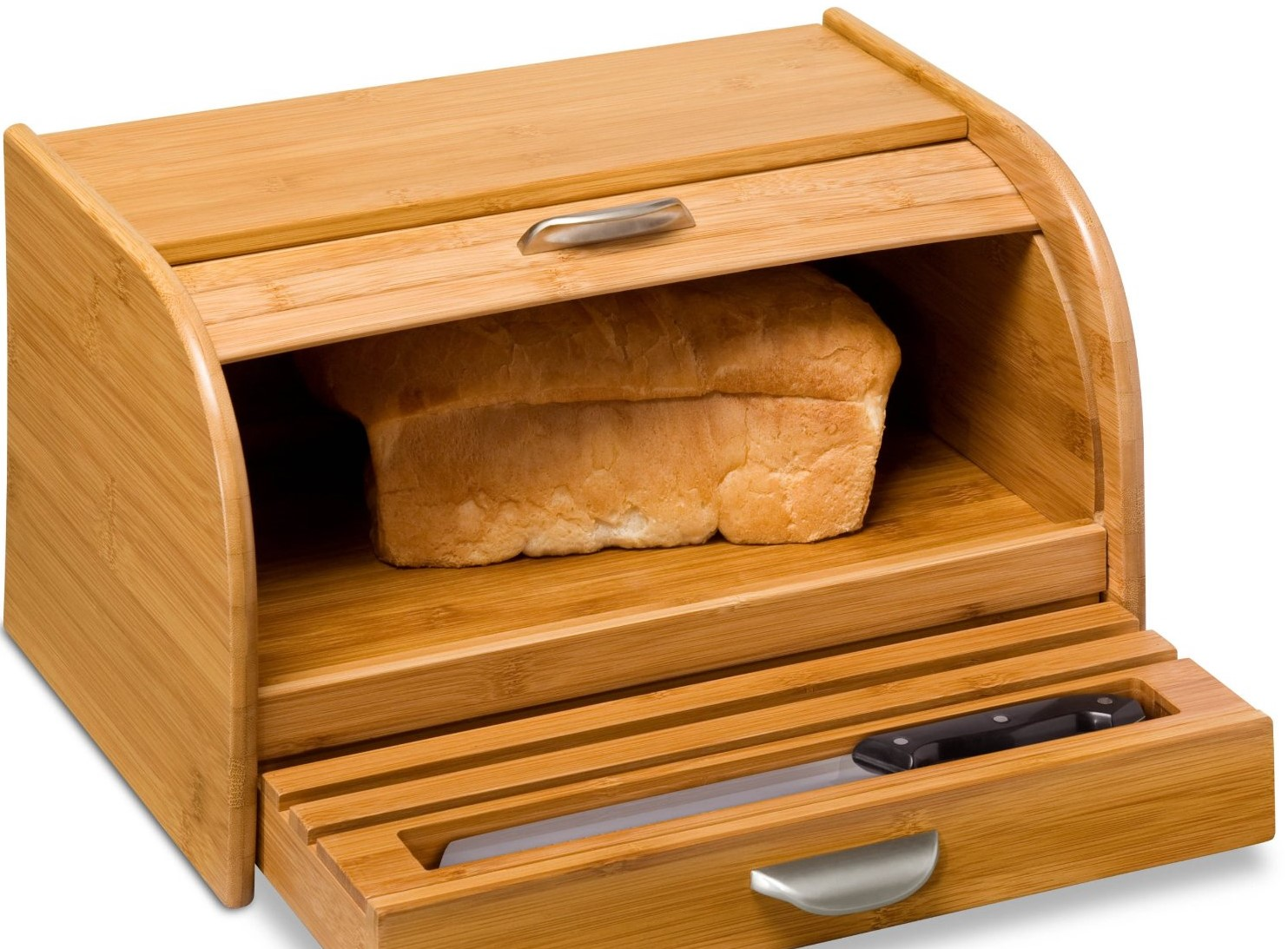 This breadbox comes with a built-in cutting board on the bottom that pulls out like a drawer. Made from bamboo veneer, it also includes a utensil caddy.