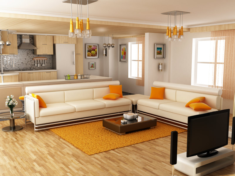Some Orange Yellow Throw Pillows Add A Bright Contrast To Warm Toned Interior