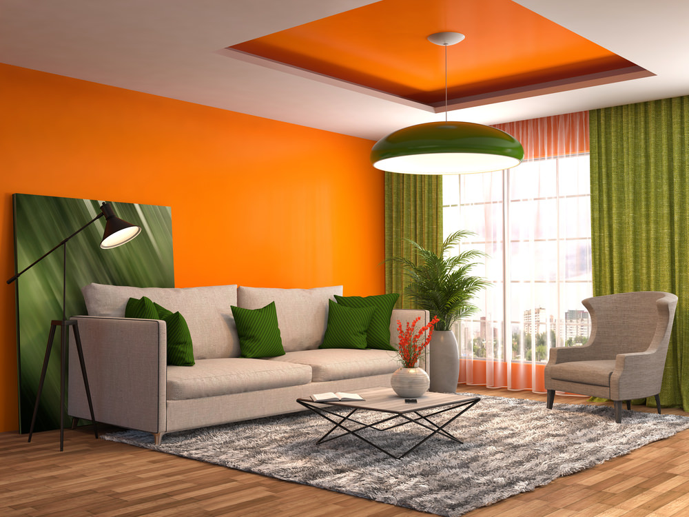 Green And Orange Living Room