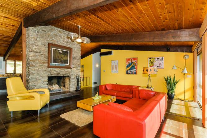 The Bright Orange Leather Sofa Set In This Living Room Is Quite Stunning  And Bright Alongside Part 57
