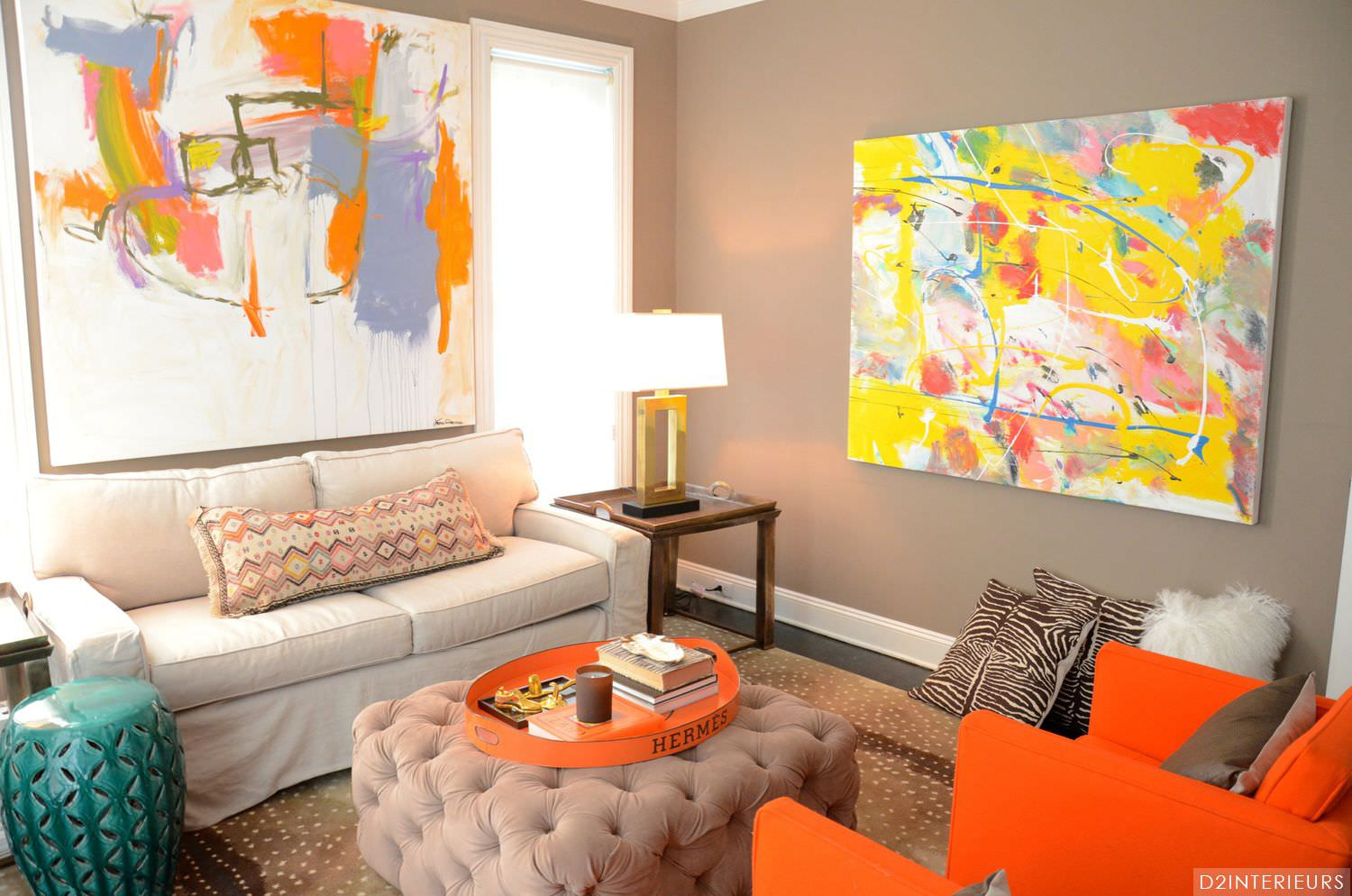 Orange and green living room decorating ideas for Living room ideas orange