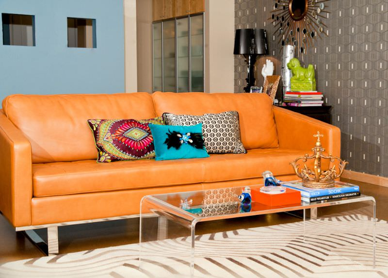Wonderful The Orange Leather Sofa Is The Glamour In The Spotlight Of This Living Room.  A Part 18