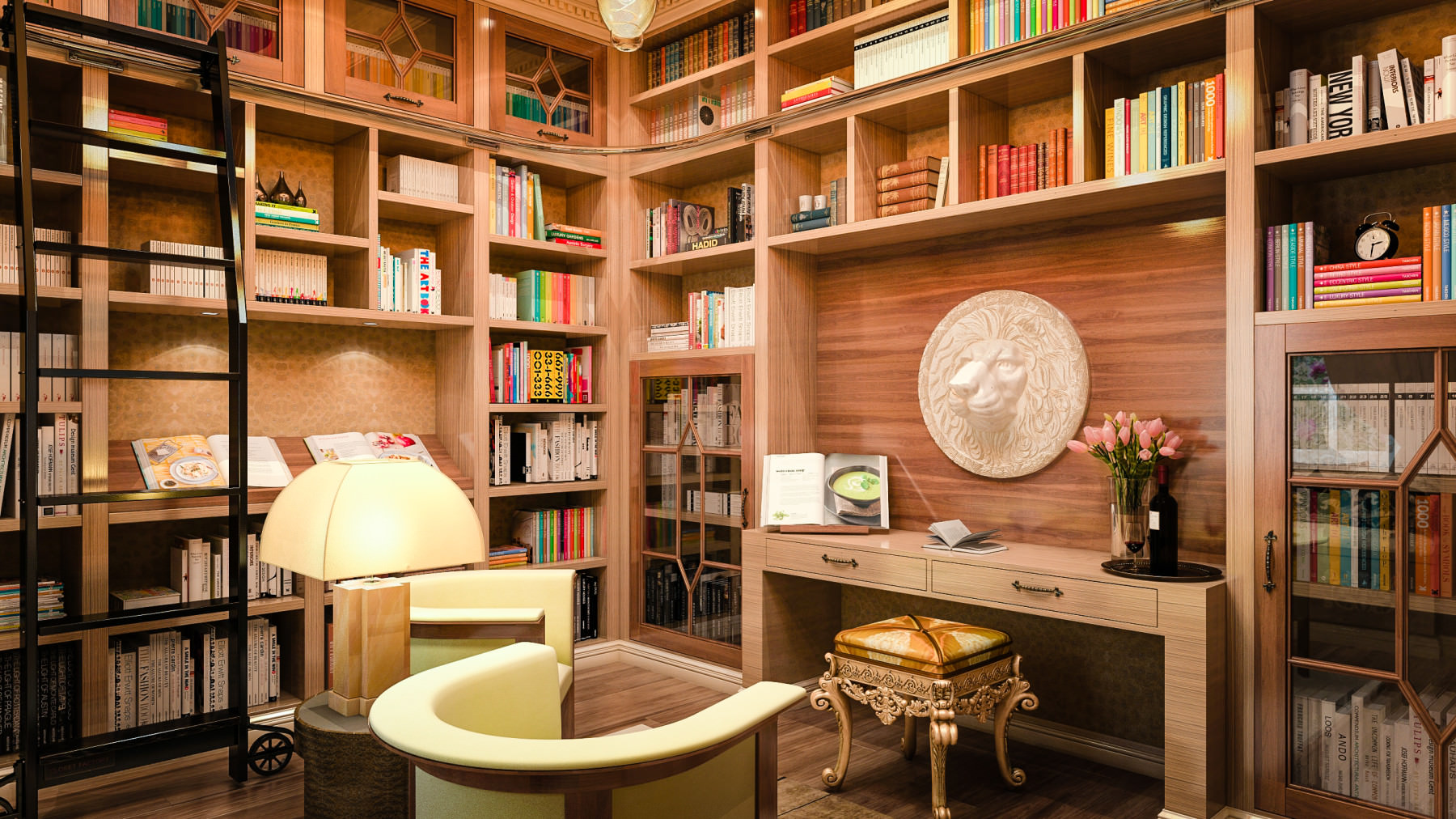 Contemporary home library design with shelves and rolling ladder