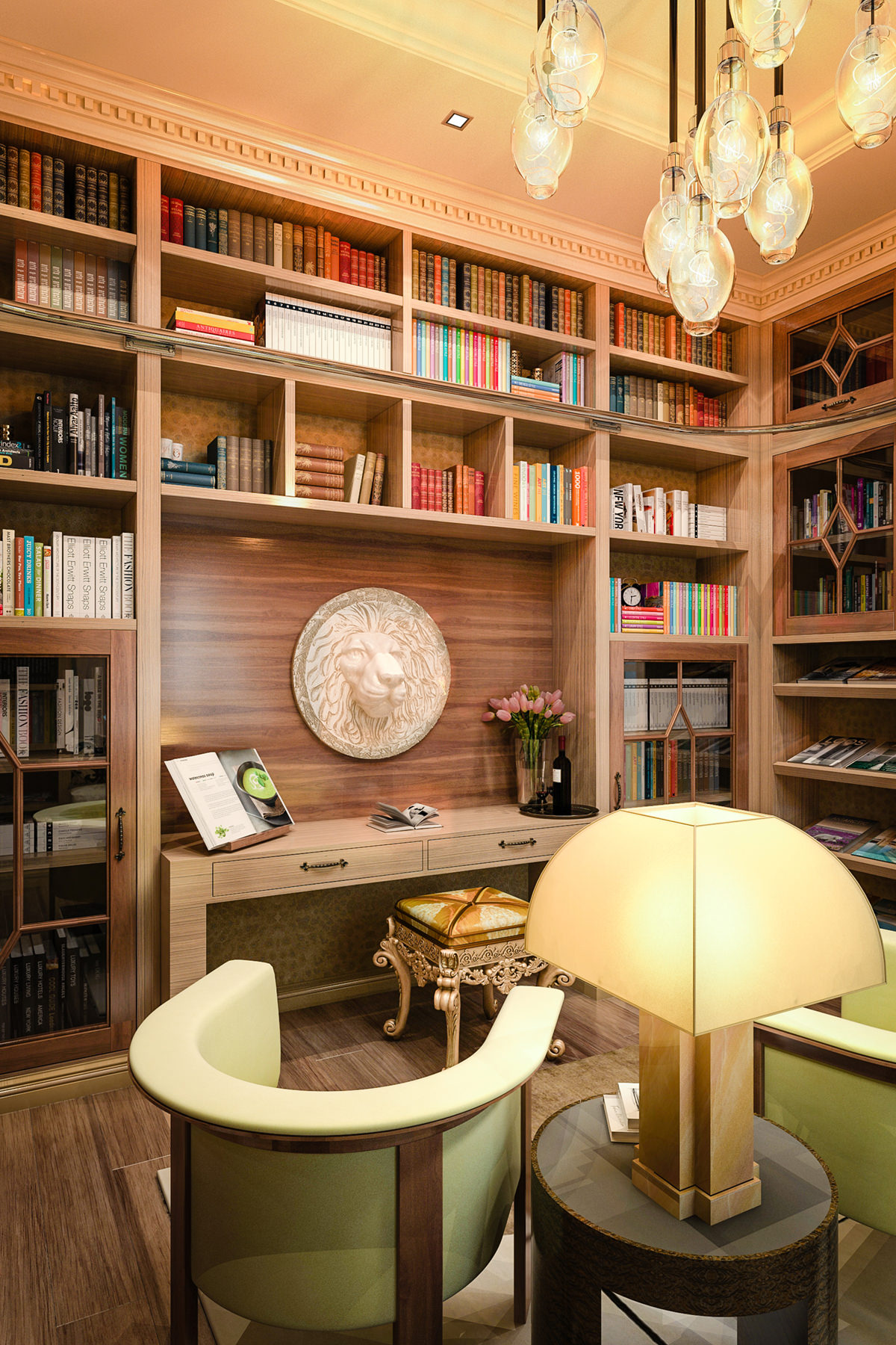 This home library is the perfect set up for anyone who likes it modern and fun. The thing I like the most about this set up is the fact that it isn't much larger than a typical room in the rest of the house. Over by the window, you can see a sitting area so that if you're up in the library in the morning, you can read over by the window. Or, if you're up there at night, then you can sit on the chairs. See, a library has to have everything which might go well with your comfort.