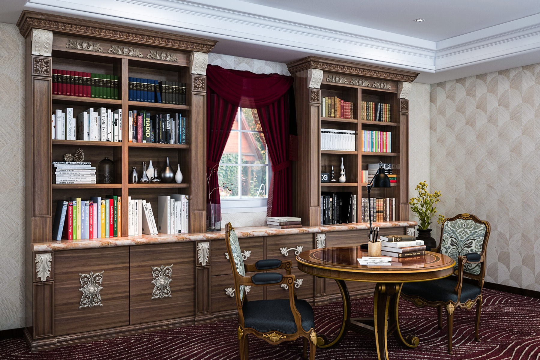 This home library, unlike the one above, is more confined to one particular corner of the room. Now, it might not be as pretty but you can't just start off with making an entire home library. You might be a developing book geek or you might be fond of some particular books. In that case, this is your ideal design.
