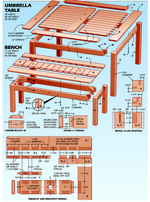 Diagram plan of Outdoor Umbrella Table in Teds Woodworking